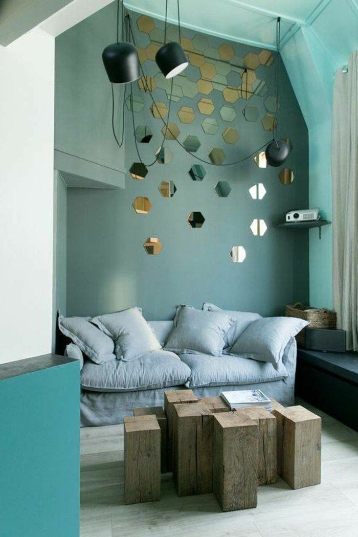 17 best ideas about sofa gris on pinterest salon gris - Peinture gris bleu ...