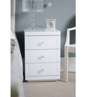 Lucia White Glass Bedside Table with 3 Drawers