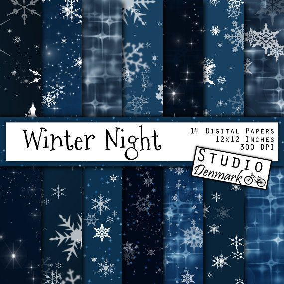 "Night Sky Digital Paper - ""Winter Night"" Christmas Snowflakes and Stars / Stary Night Winter Bokeh Backgrounds - Instant Download"