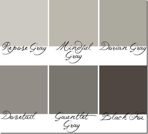 Sherwin Williams Repose Gray To Black Fox I Love These Grays Because They Are True Without Leaning Towards An Awkward Baby Blue Or Annoying