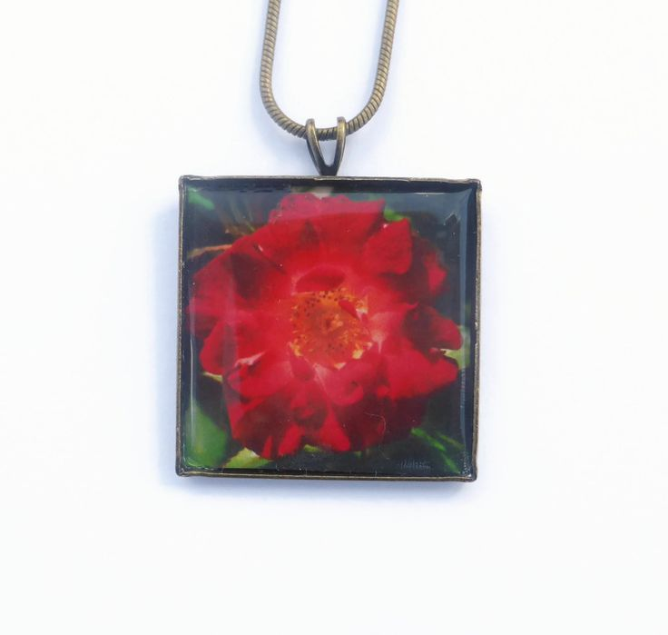 Red Flower Necklace, Gift For Her, Flower Jewelry, Red Rose Necklace, Red Pendant Necklace, Romantic Gift, Boho Necklace, Christmas Gifts by Larryware on Etsy