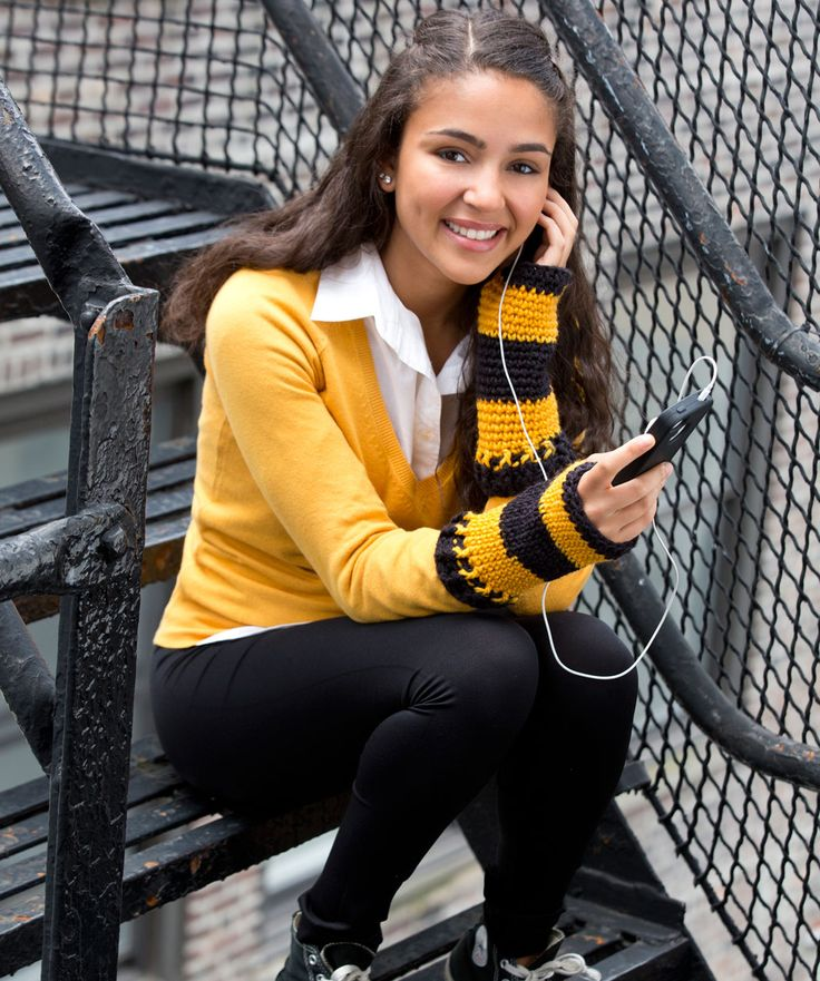 You can text the score to all your friends and support your favourite team! Keep your hands warm but your fingers free with these cosy crocheted wristers.