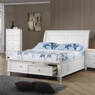Check out the Coaster Furniture 400239T Sandy Beach Twin Sleigh Bed with Footboard Storage in White