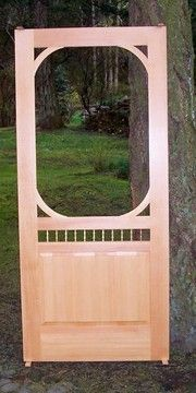 wooden screen door - prettier than a storm door and still lets the air in! Paint it white!