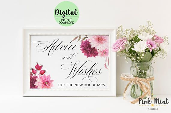 Advice and Wishes sign Wedding Sign Advice for the