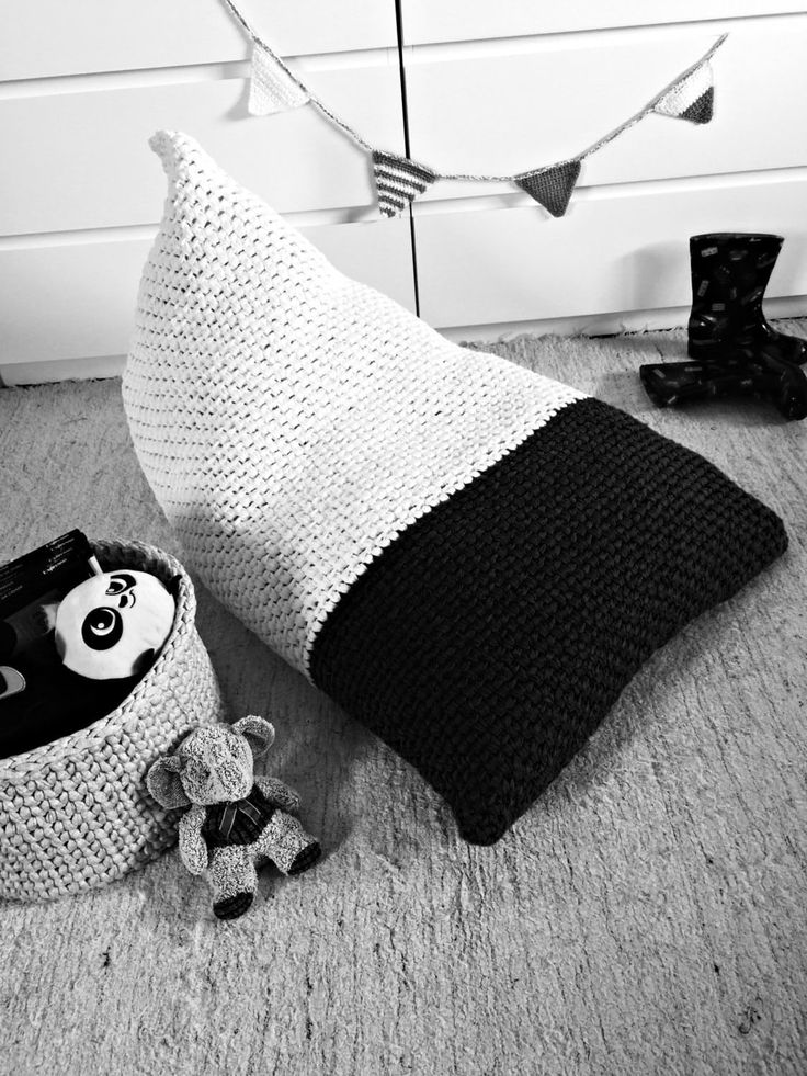 Chunky Knit Bean Bag Pouf - Modern Color Block Bean Bag Pouf - Nursery Decor-Playrooms Bean Bags-Furniture Floor Pillow- -Living Room Decor 0