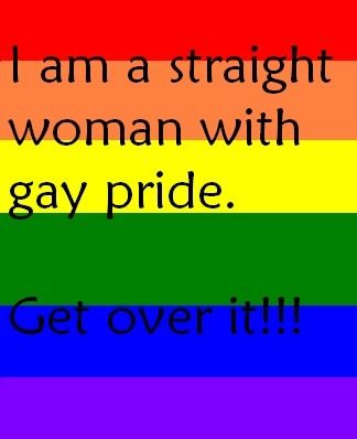 this one was perfect, fully straight girl, but support the gays so much, i want to go to gay pride one day! :D