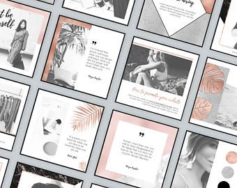 Rose Gold Instagram Templates With White & Black Marble, Glitter Foil, Business Quotes Social Media Pack Images Pictures Feminine Elegant
