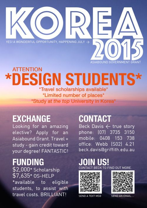 Exciting adventure ahead for students of QCA design!! Join us for an amazing study exchange to Korea in July, email beck for more info! :D