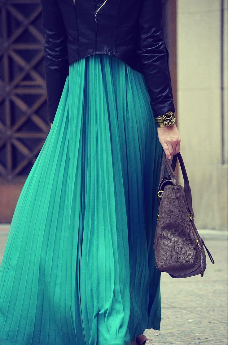 Teal pleated maxi skirt w/ leather jacket