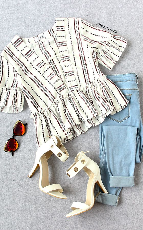 Real beautiful on than it looks. Shop Striped Lace Up Ruffle Top with 40% off 1st order at shein.