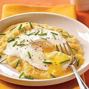 Eggs Blindfolded Over Garlic-Cheddar Grits | CookingLight.com