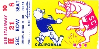 1955 USC vs. California football art made from an authentic '55 football ticket. Great football art for a game room or office.