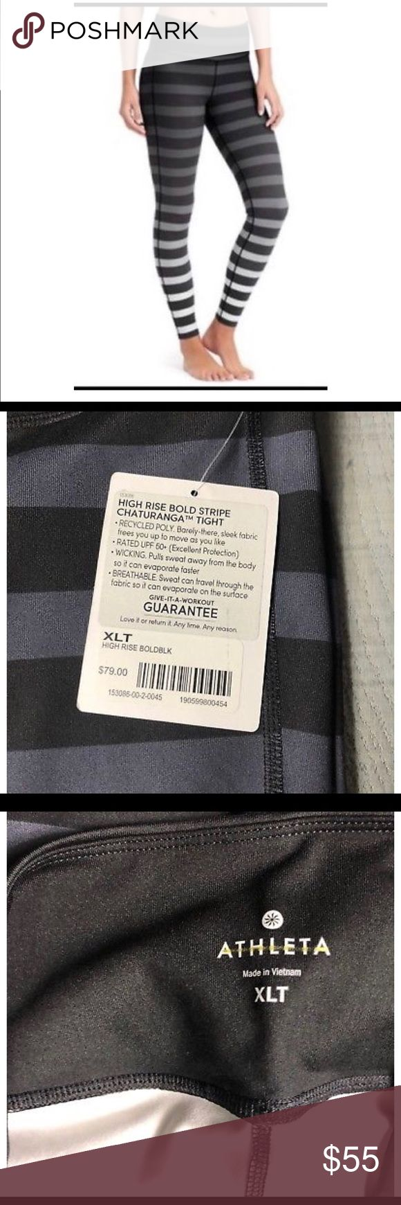 NWT Athleta High Rise Chaturanga Tight Sz XL TALL NWT Athleta High Rise Chaturanga Tight Bold Stripe Black Gray Womens Sz XL TALL No flaws/Pet & smoke free home * Unpinchable waistband * Flatlock seams minimize chafe, internal key pocket * Breathable CoolMax® crotch gusset * 88% polyester/12% Lycra Spandex. * Barely-there, sleek fabric frees you to move as you like * Pulls sweat away from the body so it can evaporate faster * BREATHABLE. Sweat can travel through fabric and evaporate on the…