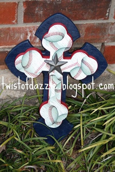 Medium Baseball Cross by twistofdazzle on