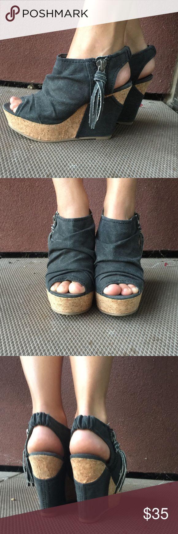 Wedges Black denim cork wedges with side zipper. Open toe. Hardly worn. Big Buddha Shoes Wedges