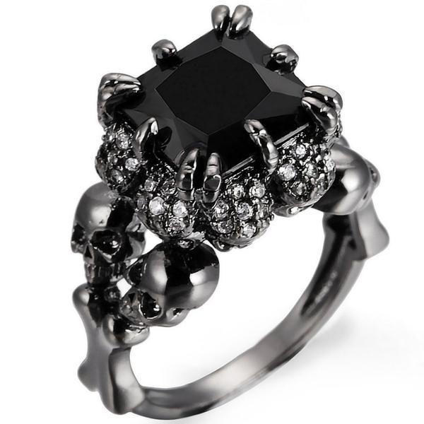 Black Rhodium Plated Demon Princess Wedding Ring Gemstone Wedding Rings Skull Wedding Ring Wedding Rings For Women