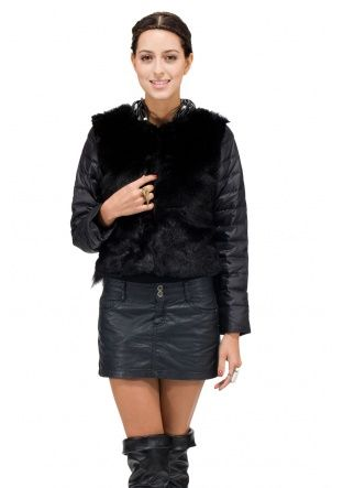 Variety Girl/faux black mink and fox fur with 100% goose filling /short down coat