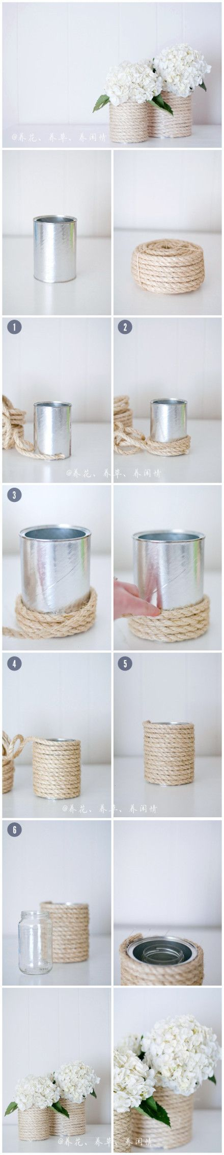 Cans & jars covered in rope - table decor--wonder if you can get the same effect covering glass vases