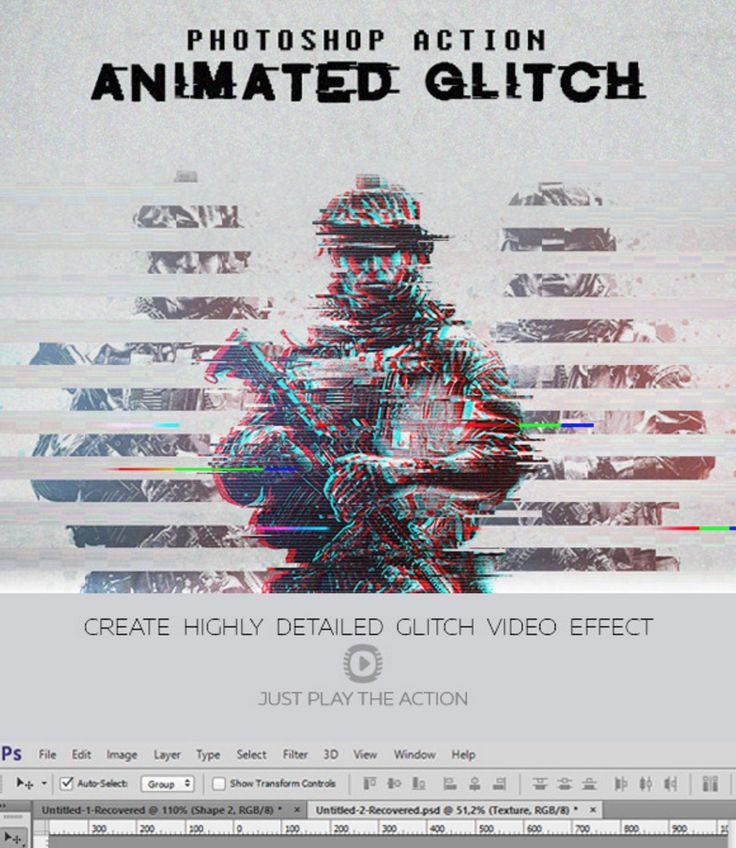 Free Glitch Photoshop PSD Actions Ver. 2 on Behance
