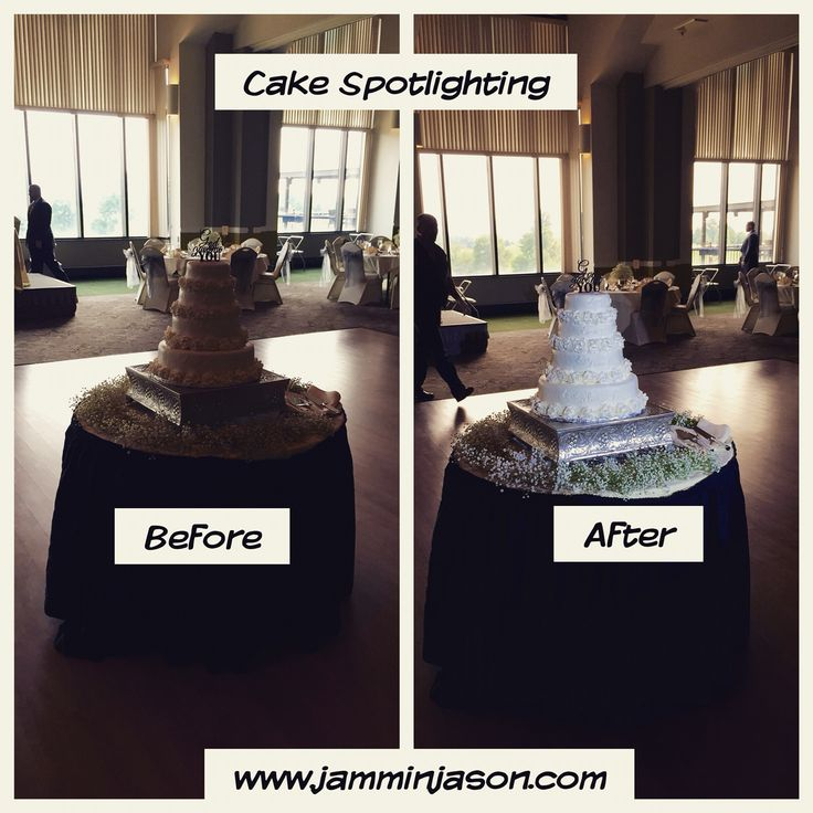 DJ Jason Rullo can spot light your cake to make it pop! Check out the before/after photo! I really makes a difference!  Inquire at http://jamminjason.com