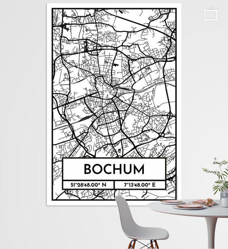 Bochum City Map Design Stadtplan Karte Retro Poster City
