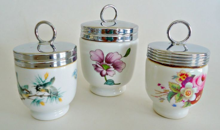 3 Egg Coddlers Large and Two Small Royal Worchester Vintage Coddler by…