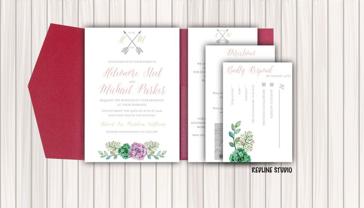DIY Wedding pocket invitation template - INSTANT DOWNLOAD - editable text - Boho…