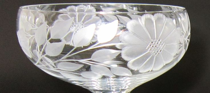 Another very early Champagne glass, above are two good examples of Hughes' earliest work, this one also possibly cut on a Tiffin Glass Co.'s blank.