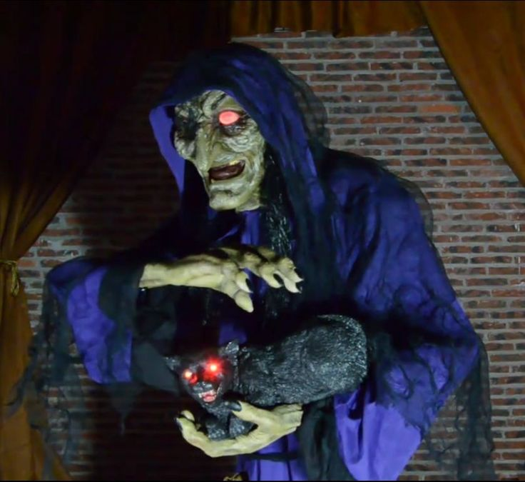 Halloween Prop MATHILDA THE WITCH & CAT Animated Haunted