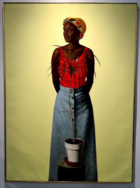 Barkley Hendricks, Pretty Peggy's Black Box, 1976, oil, acrylic and magna on canvas, 66 x 48 inches