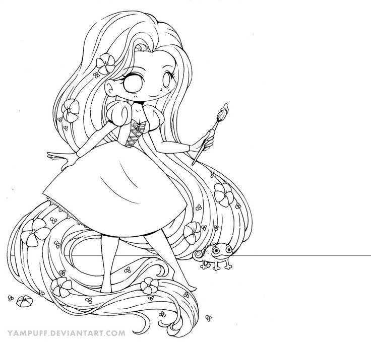 Rapunzel Chibi Line Art by YamPuff