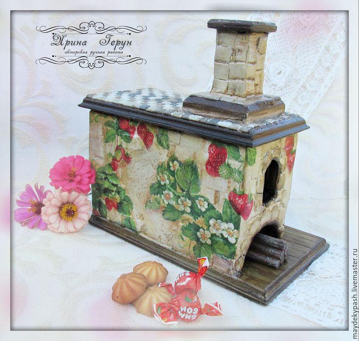 """Купить Чайный домик """"Печка"""" - коричневый, чайный домик, чайный домик декупаж, печка"""