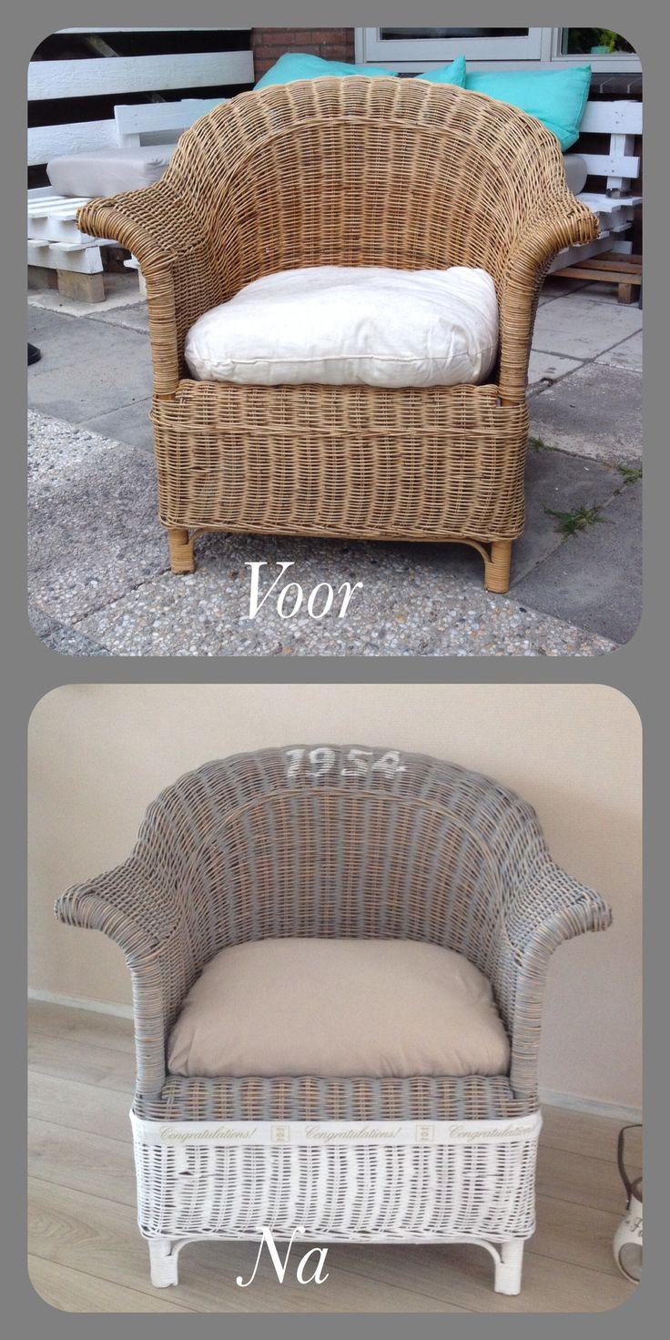 De stoel opgeknapt met home deco verf van action. Het is een mooie landelijke stoel geworden.