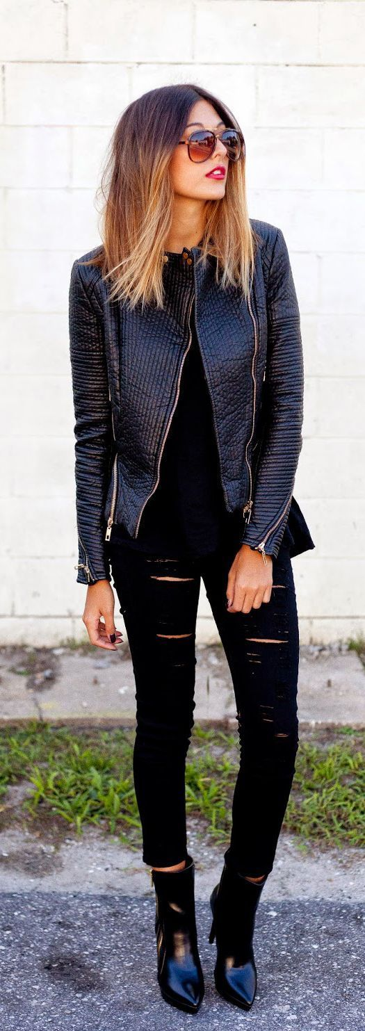 Everything Perfect Black Street Outfits | Leather ...