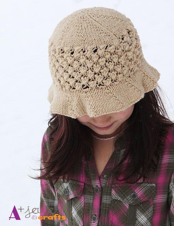 Beach hat girls knitting hand knitted hat by APlusJewelryCrafts