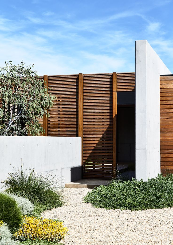 Operable timber screen and off form concrete wall with softening coastal plant palette. Designed by Acre - Munro Street. www.acre.com.au Photo by Derek Swalwell. Construction by Powda. Architect: Planned Living Architects.