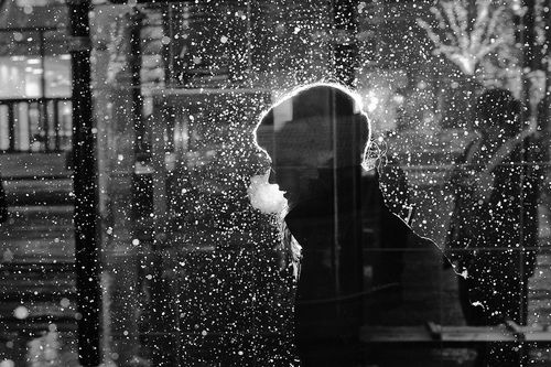 Using a slow shutter speed combined with a powerful flash, Satoki Nagata captured a series of abstract black-and-white portraits in Chicago's frigid winter.  Doesn't the illuminated snow contrast in such an awesome way with the dark human shapes?  Stunning Portraits of a Frigid Chicago Winter