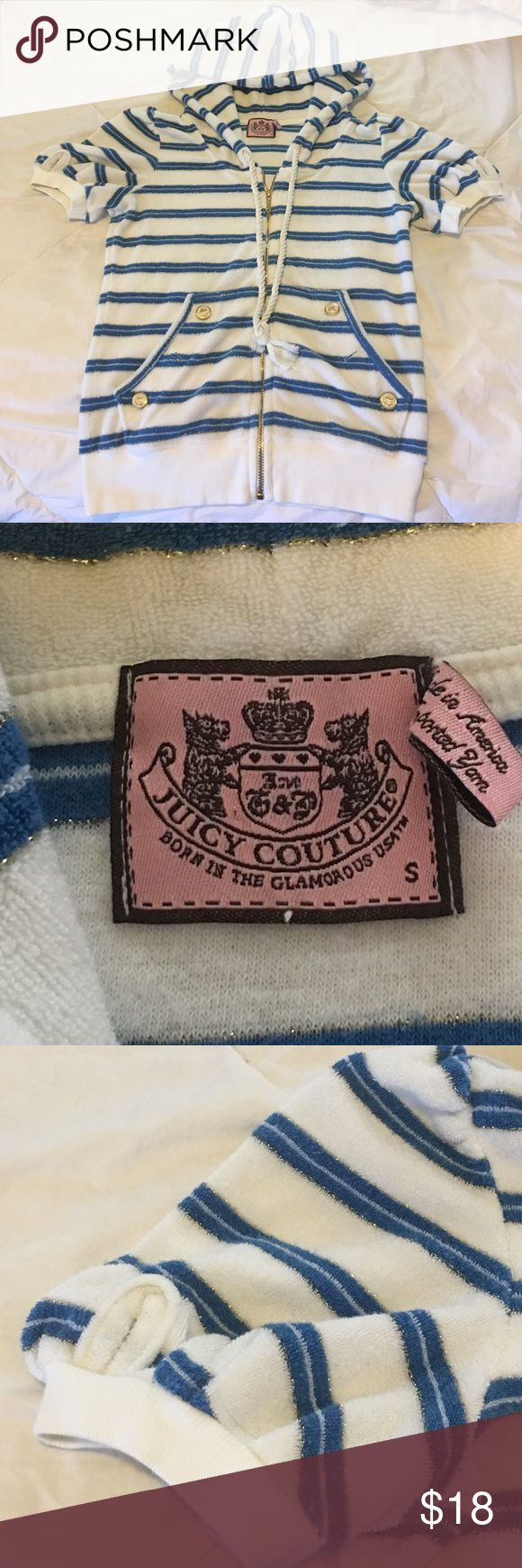 Women's S Original Juicy Couture Nautical zip top Women's S Original Juicy Couture (not what's sold in Kohl's) Nautical look, zip up hoodie. Fabulous casual top with gold thread, zipper, & button accents. This has pockets in the front. This top looks amazing with white bottoms and tan skin. Only selling because it no longer fits. Only worn 3-4 times. Juicy Couture Tops