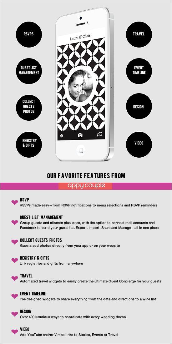 So much to love about Appy Couple wedding apps and websites. #weddingapp #appycouple #weddingchicks ---> http://www.weddingchicks.com/2014/05/06/app-to-plan-the-perfect-wedding/