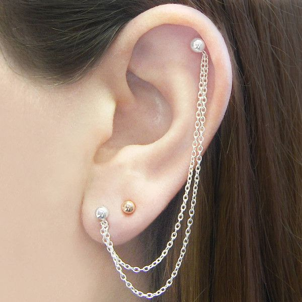 Otis Jaxon Silver Jewellery Silver Double Ball Chain Drop Ear Cuff... ($28) ❤ liked on Polyvore featuring jewelry, earrings, ear cuff jewelry, earrings jewelry, ball earrings, silver stud earrings and summer earrings