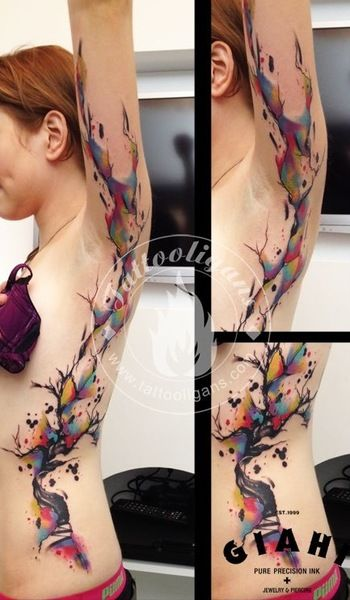 splatter tattoo. placement. wonderful