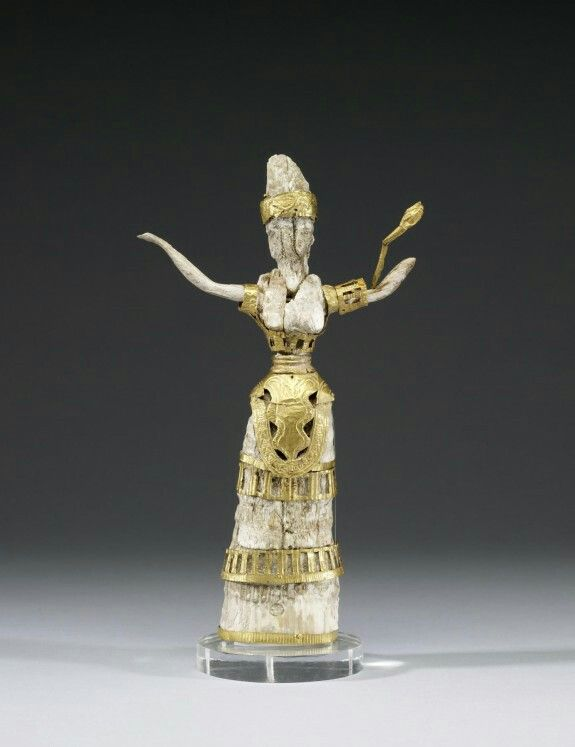 Ivory and gold figurine of a goddess or priestess. Minoan. 16th century B.C. | The Walters Art Museum