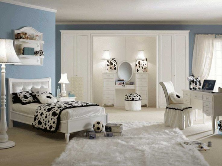 Simple Interior Design for The Bedroom For Girls with white headboard bed along white black patterned blanket and piloow plus white dressing table also white fur rug