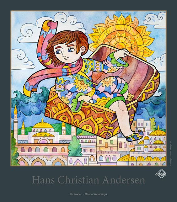 The Flying Trunk, Milana Samarskaya, fairy tales, Hans Christian Andersen, drawing