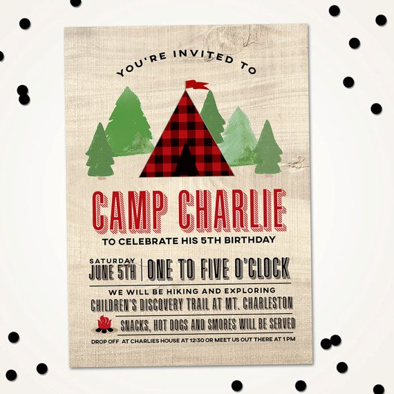 Camping Birthday Invitation, Nature Birthday party invitation, Explore Birthday Invite, S'More Birthday, Hiking party, PRINTABLE DIY