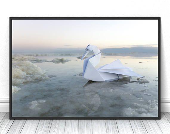 Origami artwork, Living Room Print, Paper art home decor, White pure photography, Fits Ikea Ribba frame  #swan #origami #sea #white #paperfolding #print #poster #fineart #art #creative #unique #fineartphotography #fineartprint #wallart #livingroomdecor #walldecor #bedroomdecor
