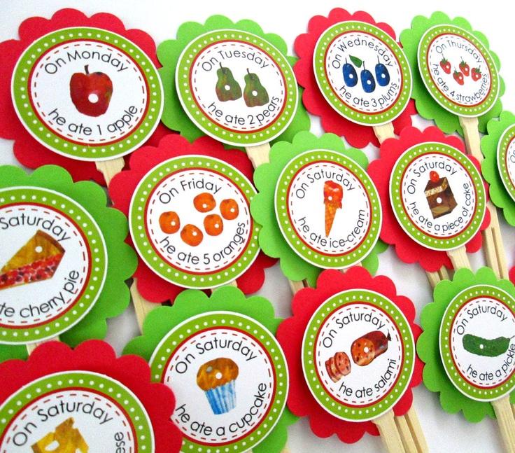 A Very Hungry Caterpillar Food Picks: Caterpillar 1St, Logan 1St, Birthday Parties, Hungry Caterpillar Food, Food Pick, Caterpillar Birthday, Very Hungry Caterpillar, 1St Birthday, 12 00