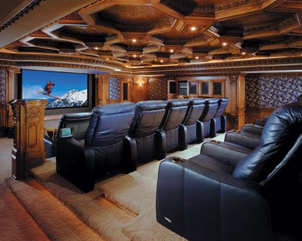 Outstanding Home Theatre Room Ideas Exciting Classic With Black Leather Theater Chair Wood Panel Wall And Wallpaper