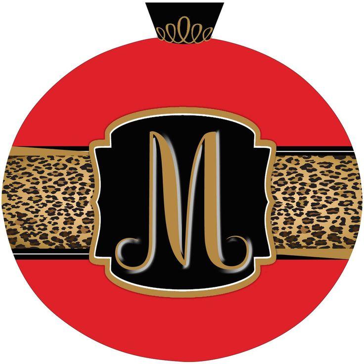 Leopard & Red Christmas Ornament Initial Door Hanger